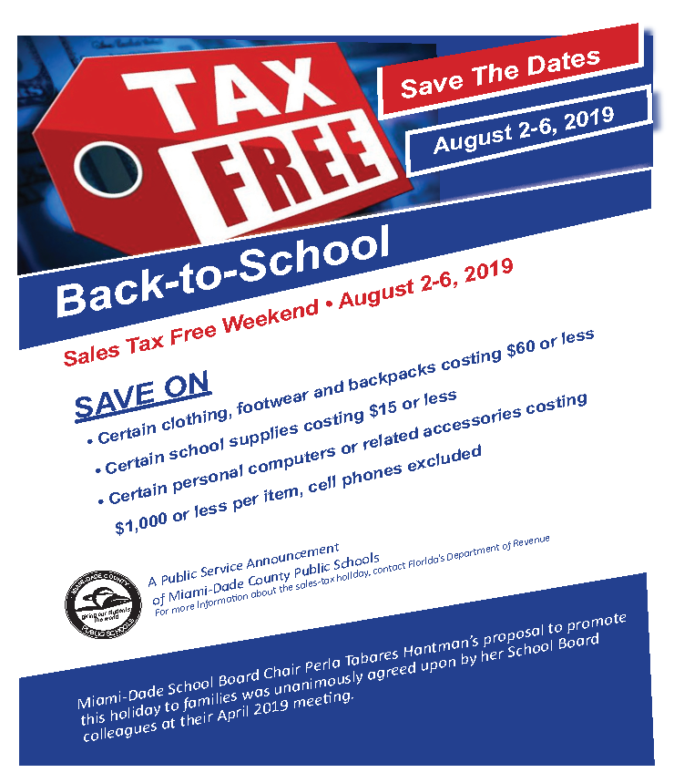 2019 Back-to-School Florida Sales Tax Holiday